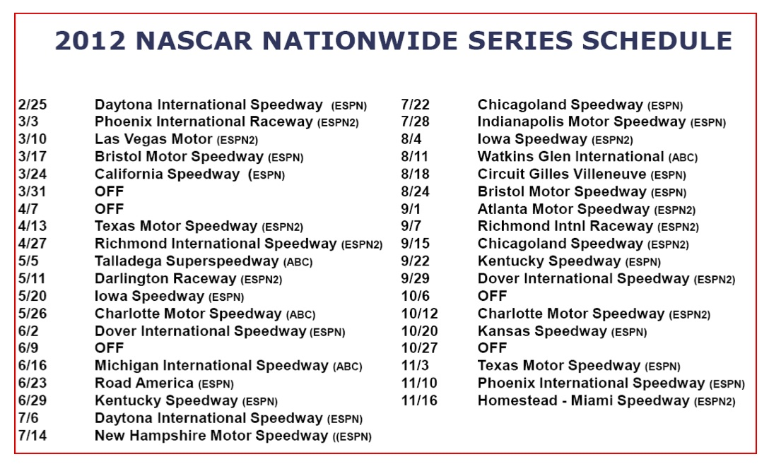 nascar schedule 2014 full breakdown updated results and sprint cup Car ...